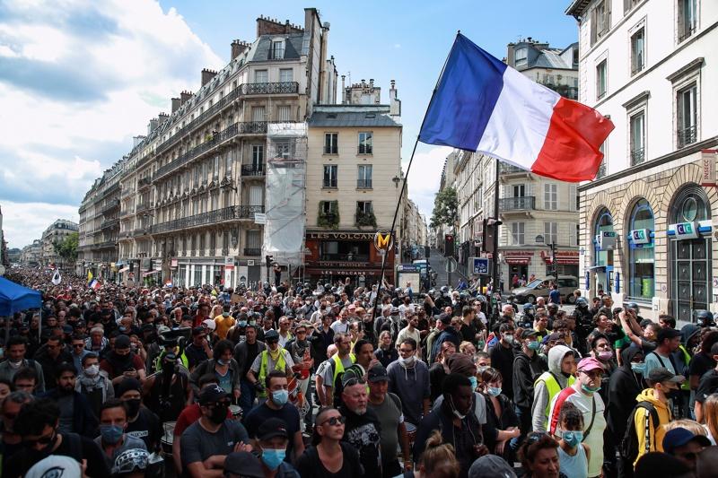 демонстрация, Франция, ковид